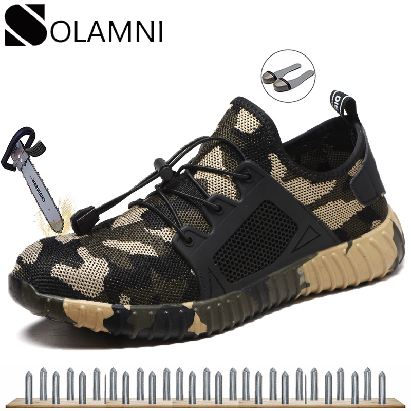 Mens Brand Work Shoes Steel Toe Cap Safety Shoes Work Boots Male Camouflage Puncture Proof Industrial Shoes Light Mesh Sneakers