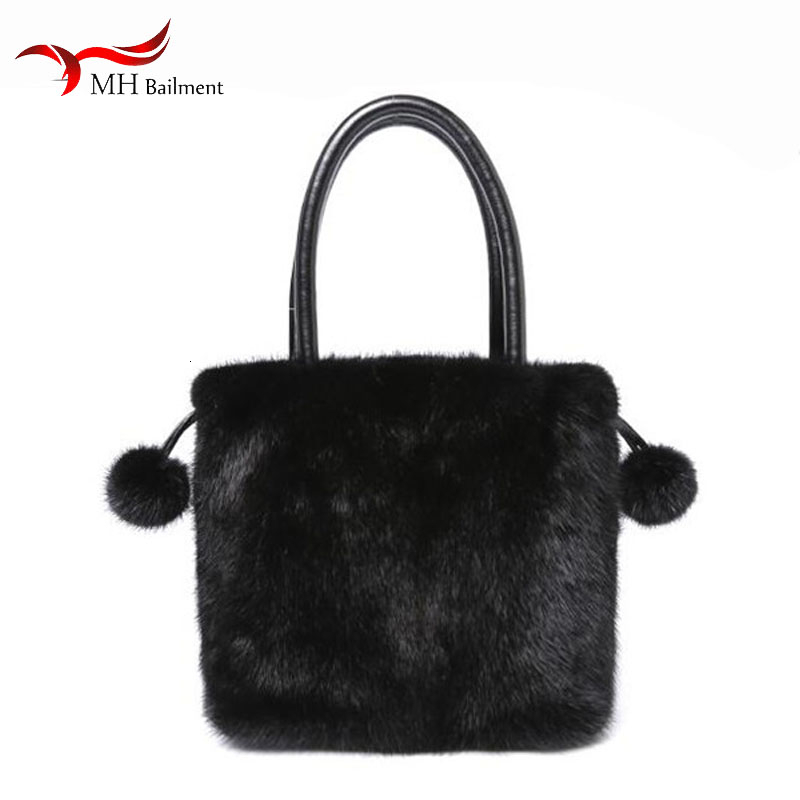 Women's Fur Bag Autumn And Winter New 100% Mink Fur Drawstring Bag Shoulder Bag Female Fashion Out Wallet Built-in Pocket Bag