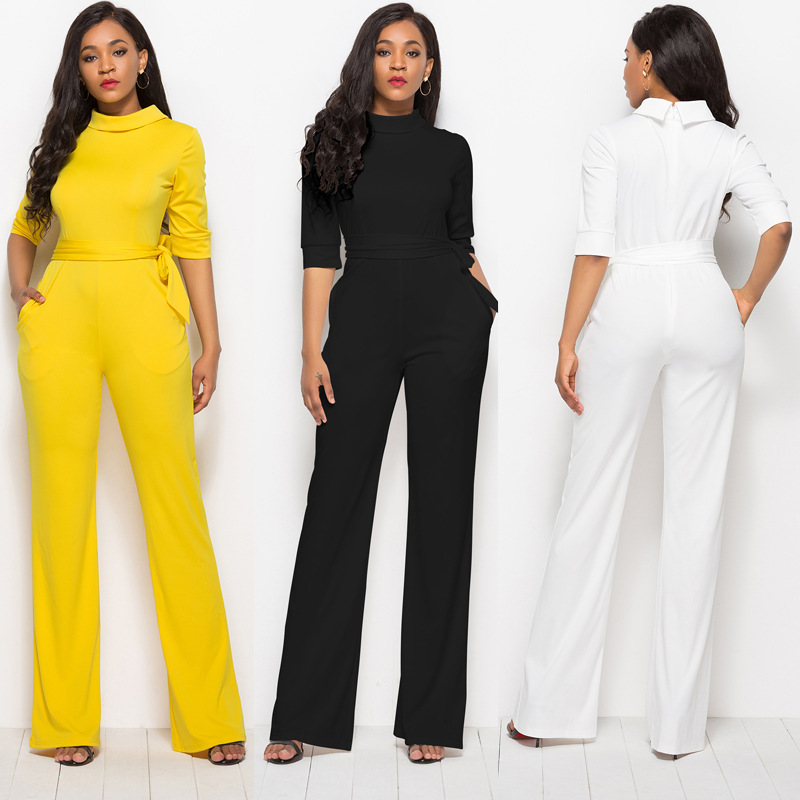 Classic Women's One Piece Sexy Show Thin Temperament Solid Color Five Quarter Sleeves Stand Up Collar Polyester Wide Leg Pants