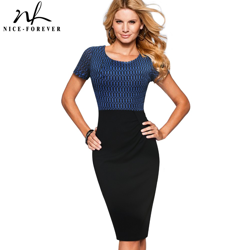 Nice-forever Vintage Elegant Contrast Color Patchwork Business Dresses Bodycon Women Office Pencil Dress B372