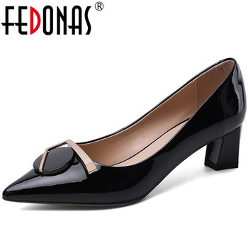 FEDONAS Euro Style Fashion Women Wedding Party Shoes Cow Patent Leather Pointed Toe Strange Heeled Metal Decoration Shoes Woman