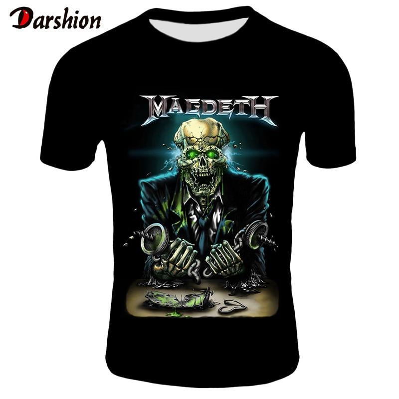 3D Megadeth T-shirts Men Fashion Tops Tees Skull Print T Shirt Men/Women O-neck Short Sleeve Summer Tshirts Plus Size XXS-4XL