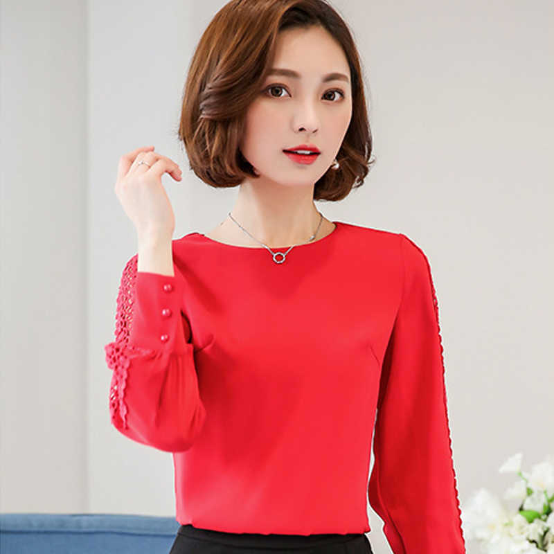 Rood Blauw Wit Chiffon Blouse Vrouwen Herfst 2020 Lange Mouwen Office Shirts Koreaanse Fashion Lace Hollow Out Top blusas