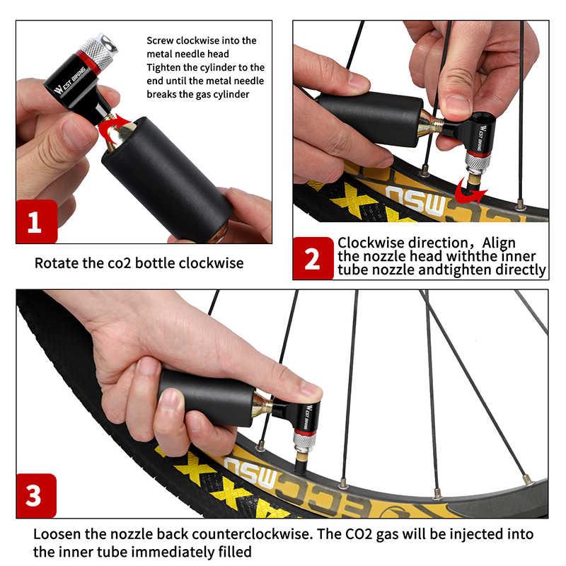 West Fietsen CO2 Pomp Voor Fiets Schrader Presta Adapter Fiets Pomp Inflator Aluminium Tire Tube Mini Handpomp Geen CO2 cartridge