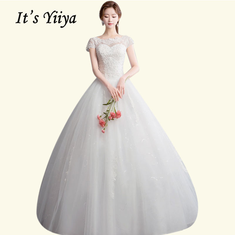 Wedding Gowns Boat Neck It's Yiiya BR671 Short Sleeve Lace Wedding Dress Plus Size Pearls Vestidos De Novia Long Wedding Dresses