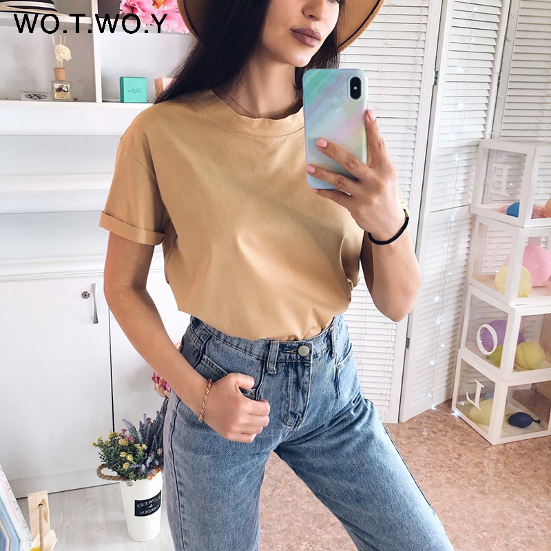 WOTWOY Solid Casual Basic T-shirt Women 2020 Summer Short Sleeve Knitted Cotton Tee Shirt Women Black White Korean Top Femme New 3