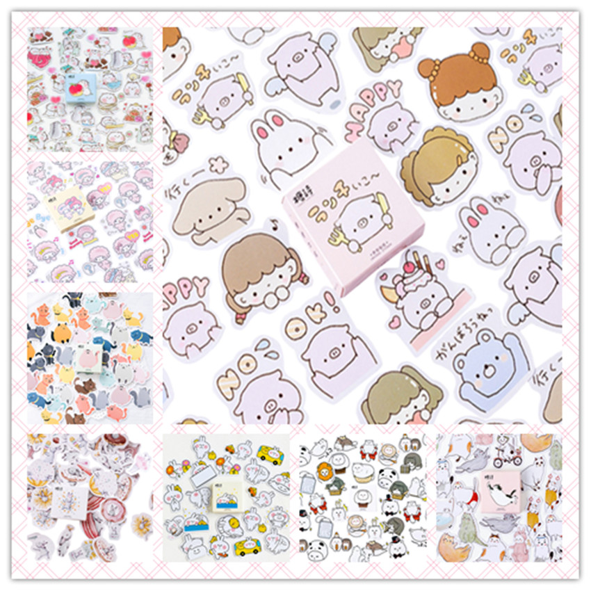45pcs/pack Cartoon Stickers DIY Diary Notebook Album Scrapbooking Stickers Office School Supply 14 Styles Can Choose