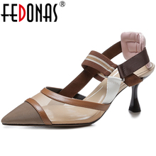 FEDONAS Concise Fashion Women Casual Pointed Toe Cow Leather Mesh Mixed Colors Sandals