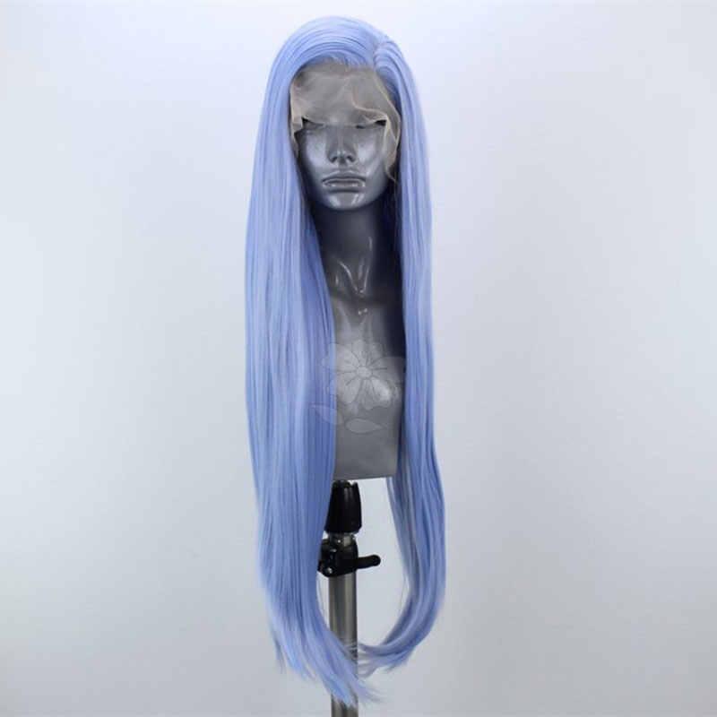 Lange Hemelsblauw Rechte Hand Gebonden Synthetische Lace Front Pruik Lijmloze Hittebestendige Vezel Haar Natuurlijke Haarlijn Voor Vrouwen Wigsigs