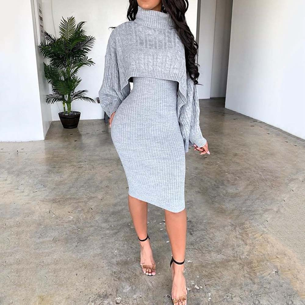 Women Winter Turtleneck Long Sleeve Sweater Dress Fashion Autumn Warm Bodycon Plus Size Midi Knitted Dresses Two Piece Sets Lady