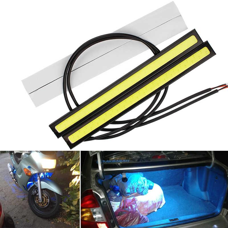 6x17 CM süper parlak araba LED sis ampul COB şekillendirici DRL gündüz çalışan far 12v oto İç lamba motosiklet şekillendirici atmosfer
