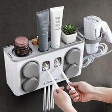 Набор для ванной Аксессуары зубная щетка держатель автоматическая Зубная паста диспенсер присоска настенное крепление ящик для хранения для ванной комнаты