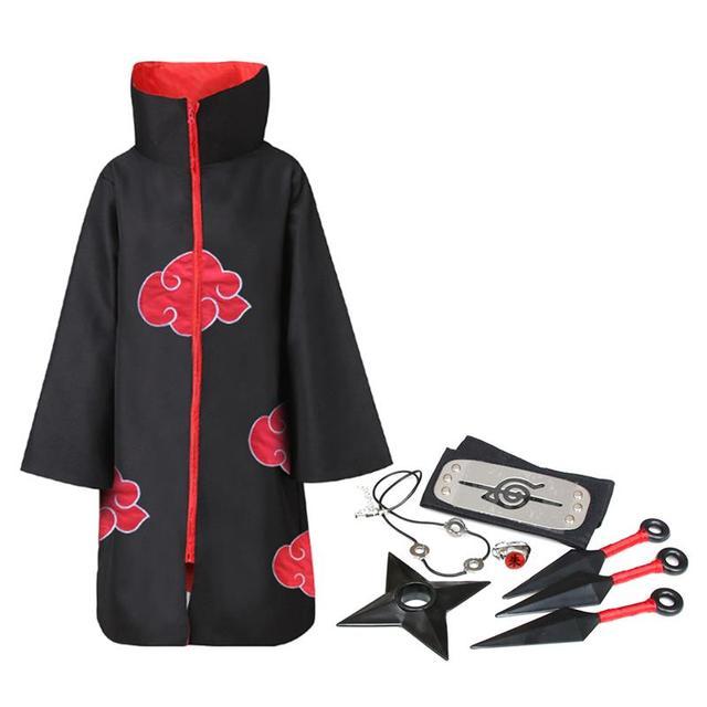 8pcs Long Robe Cosplay Akatsuki Cloak Costume Headband Necklace Ring Headband Halloween Costume For Men Kids Cosplay Costume #02 1