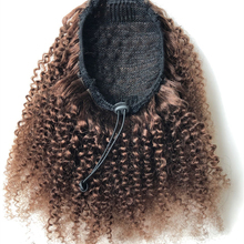 Hair-Extensions Curly Ponytail Human-Hair Afro Kinky Drawstring Halo Brown for African