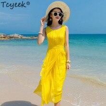 Tcyeek Summer Beach Dress Women Long Party Dress Yellow Vestidos Sleeveless Silk Elegant Dresses Maxi Dresses Casual LWL1530