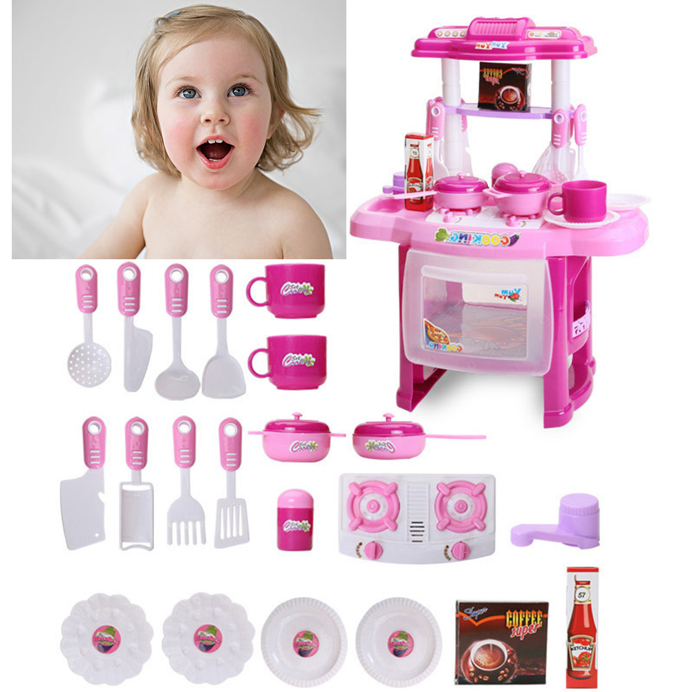 Kitchen Play Set Vivid Cooking Food Toys Girls/Kids Toy Gifts Miniatures Mini Tableware Simulation Pretend Play