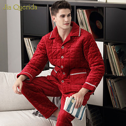 New Men's Pajamas Winter Thick Cardigan Jacket 3 Layer Padded Embossing Pattern Warm Home Winter Long Sleeve Christmas Red Suit