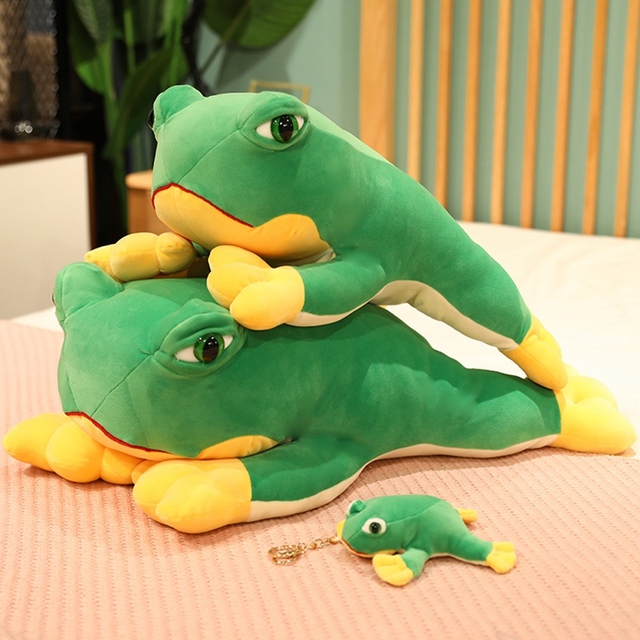 12~60cm Jumping Green Frog Doll Lying Cute Animal Soft Plushie Cartoon Pendant Decorate Children Present 1