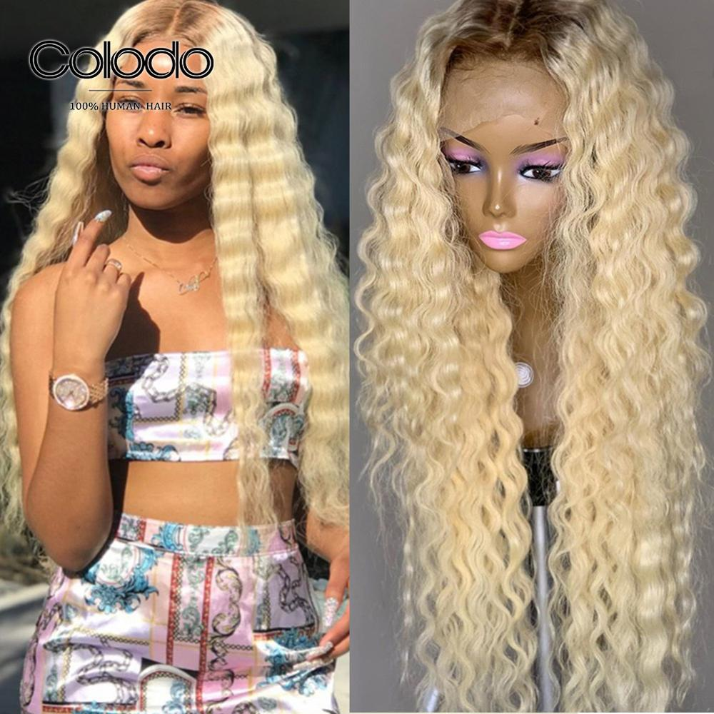 COLODO 4/613 Ombre Human Hair Wig 13x4 Pre Plucked Baby Hair 150% Deep Wave Wig Brazilian Remy Glueless Full Lace Wigs For Women