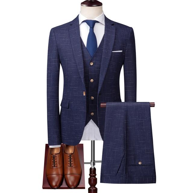 ( Jacket + Vest + Pants ) High-end Brand Luxury Dark Lattice Business Men's Slim Suit Groom Wedding Dress Tuxedo Banquet Clubmen 8