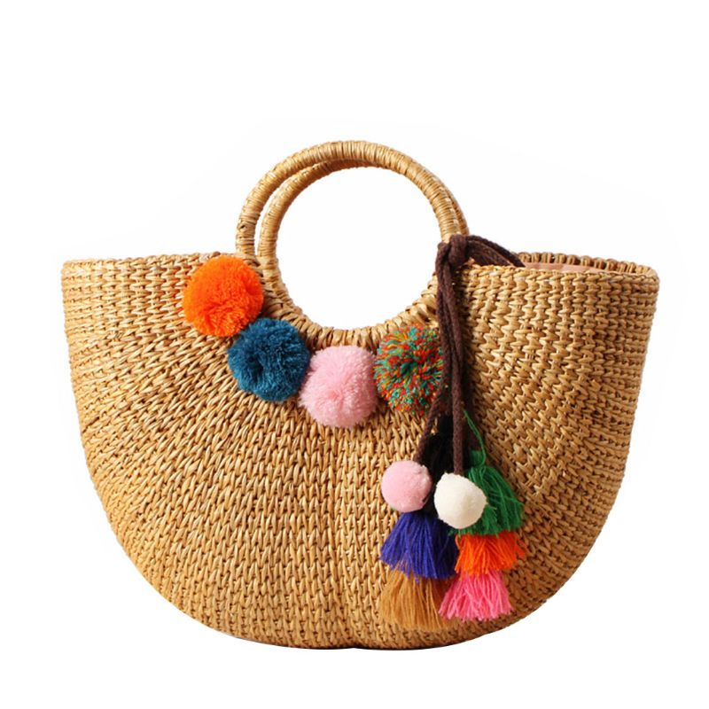 Fashion Women Girls Summer Beach Tote Straw Drawstring Handbag Travel Holiday Top Handle Bag in Top Handle Bags from Luggage Bags