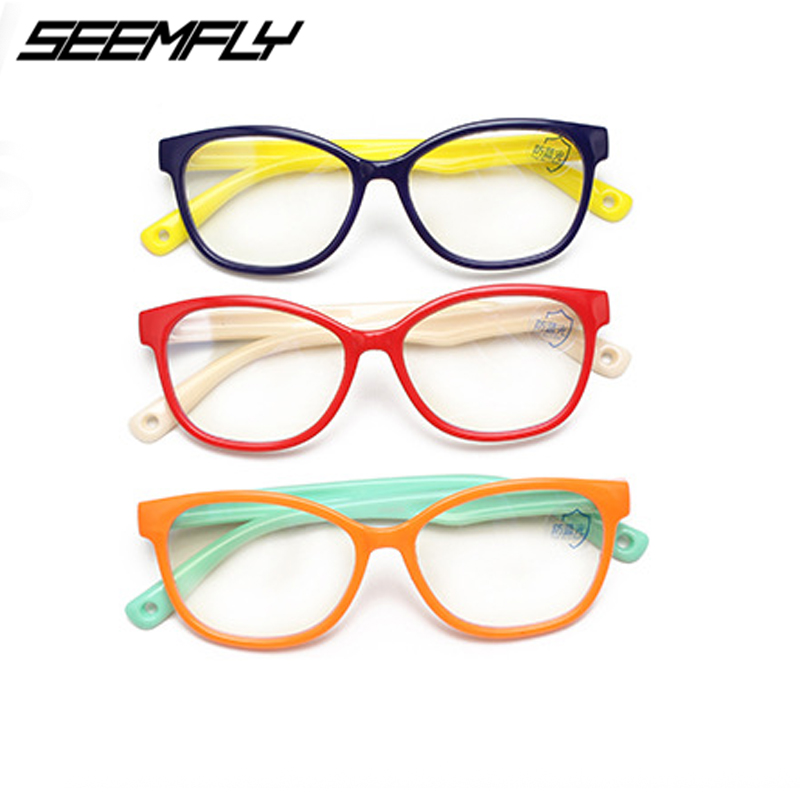 Seemfly Anti Blue Light Glasses Computer Kids Eyeglasses Frame Girl Boy Children Blocking Gaming TR90 Silicone Protective Goggle