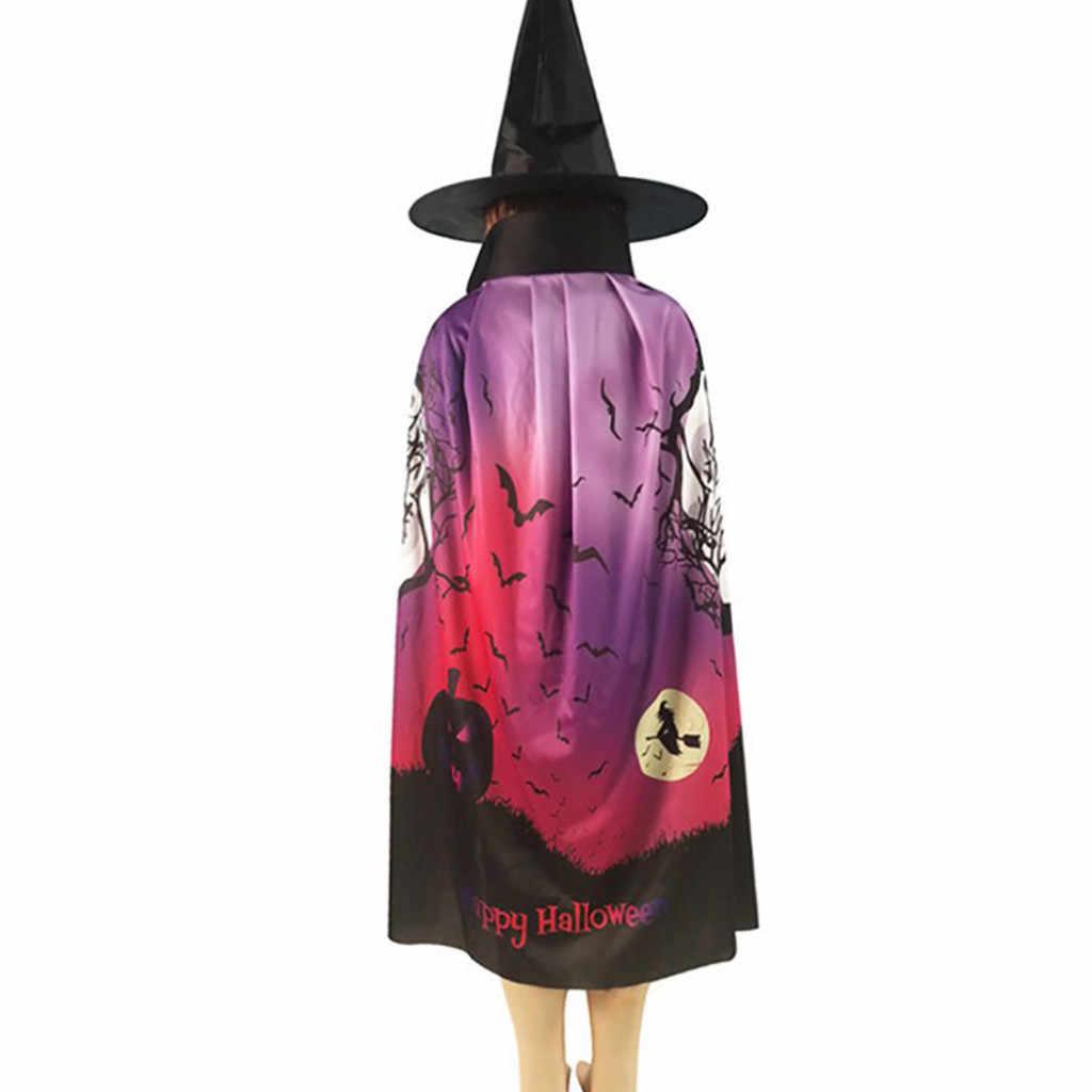 Evil ซัวเถาผู้เล่น Spoof Halloween Halloween COSPLAY Props ฮาโลวีน Spire หมวกแม่มดเสื้อคลุมชุดนาตาล Femme hiver # y2