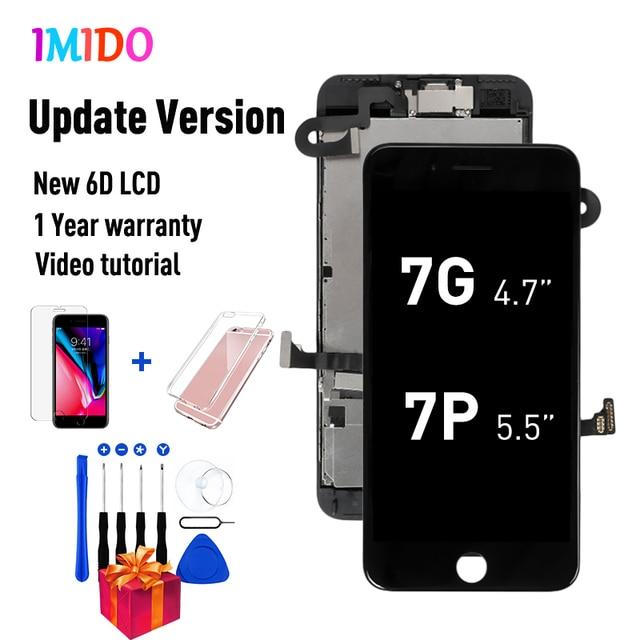 IPhone 7 için OEM LCD 7 artı ekran tam Set Digitizer meclisi 3D dokunmatik ekran değiştirme + ön kamera + kulaklık hoparlör + hediyeler