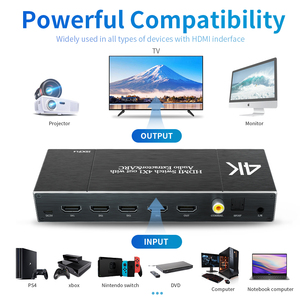 Image 2 - 4K*2K 60Hz HDMI Switcher adapter HDMI Hub Switch 4 IN 1 OUT 4 port Output Port Audio Extractor ARC HDR HDCP Remote HDMI Splitter