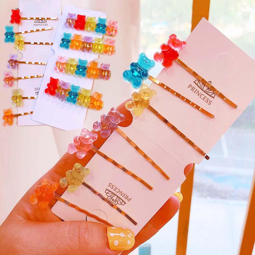 Cute Transparent Cartoon Bear Hair Clips For Girls Handmade 7 Colors Children Barrette Jewelry Kids Hair Accessories