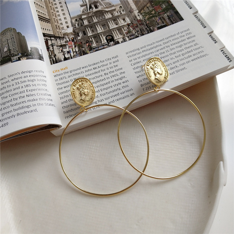 RUIYI Real 925 Sterling Silver European Hyperbole Punk Earrings Women Luxury Fashionable Queen Coin Big Circle Chic Hoop Earring