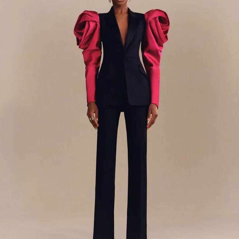 Missord 2020 Autumn And Winter Fashion Puff Sleeve Elegant Two Pcs Set Patchwork Jumpsuit  FT19858