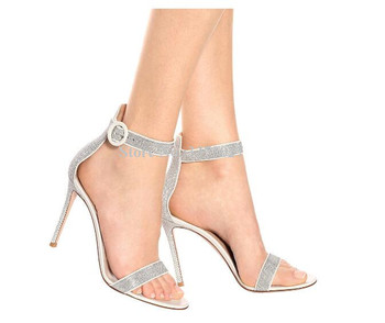 New Fashion Ankle Strap Crystal Sandals Lady Popular Concise Style Stiletto Heel Gladiator Sandals Women Large Size Party Shoes