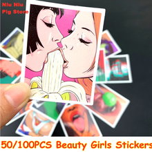 50/100Pcs Styling Pvc Waterproof Tease Vulgar Sexy beauty Girls Stickers For  Motorcycle Skateboard Luggage Decal Toy Sticker