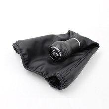 Para golf 3 mk3 engrenagem shifter botões alavanca gaitor boot 12mm preto costura tipo botão de mudança de engrenagem capa