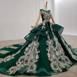 Image 2 - HTL1133 green evening dress lebanon o neck short sleeve appliques beads ball gown womens long evening gowns dubai vestido longo
