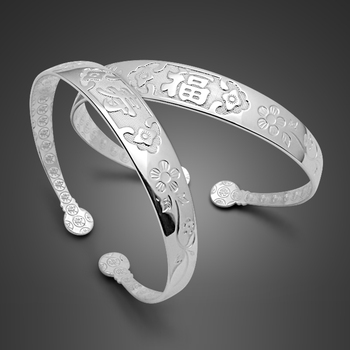 Chinese style implication blessing longevity jewelry 925 sterling silver traditional craftsmanship silver bracelet for women