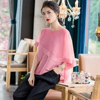 T shirt Women Plus Size Tops 2020 Spring Summer Round Neck Fashion Beading Loose Elastic Loose Miyake Pleated Pink T Shirts