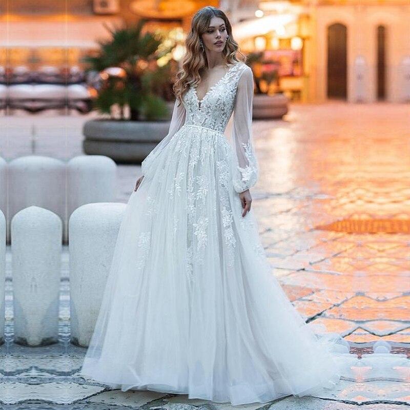 NEW White Ivory Lace Boho Wedding Dresses Long Sleeve Beach Bride Dress Wedding Gowns Backless Vestido De Noiva Custom Made