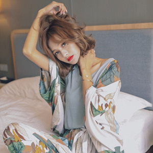 Image 5 - New Autumn Women Pajamas Cardigan+Vest+Pants+Shorts Satin 4 Pcs Set Floral Printing Sleepwear Elegant Tender Home Clothes