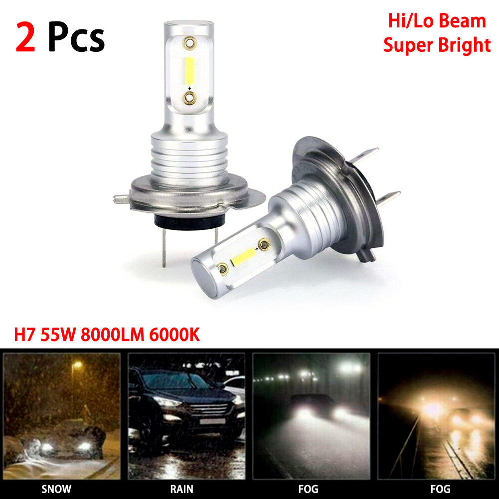 H7 LED Headlight Bulbs Conversion Kit Hi/Lo Beam 55W 8000LM 6000K Super Bright