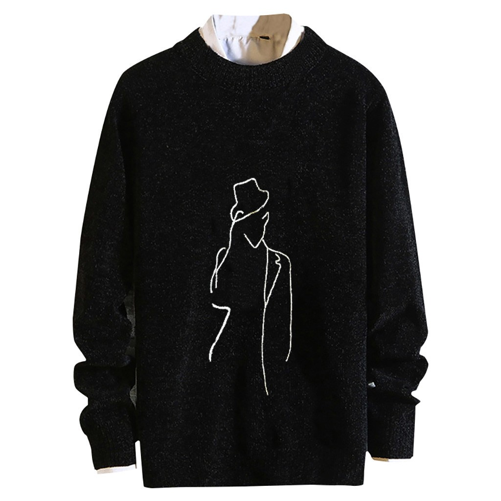 Womail Contracted Printing Casual Long Sleeve Sweater O-Neck Long Sleeve Sweater Pullover Loose Casual Mens Pullover Sweaters