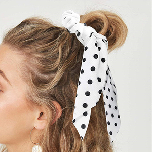 Bohemian Summer Hair Scarf for Women Elastic Hairband Dot Print Floral Pattern Hair Tie Scrunchie Bow Hair Rubber Ropes scrunchy