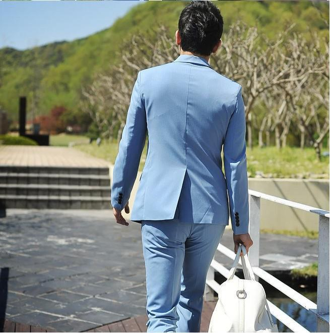 Light-Bule-Man-Suits-Notch-Lapel-One-Button-2-Pieces-Fashion-Terno-Masculino-Personal-Custome-Made (4)