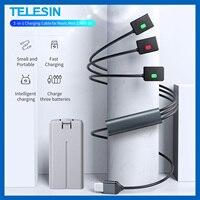 TELESIN-Cable de carga rápida para batería de Dron 3 en 1, accesorios de cámara 3 en 1 con luz LED para DJI Mavic Mini 2 Mavic MINI SE