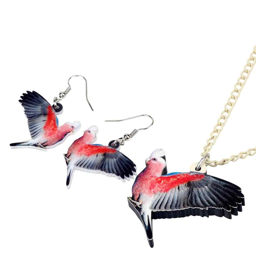 Bonsny Acrylic น่ารัก Australian สำหรับเด็ก Parrot Bird สร้อยคอต่างหูเครื่องประดับชุดเด็กหญิง Charms Party ตกแต่งของขวัญ