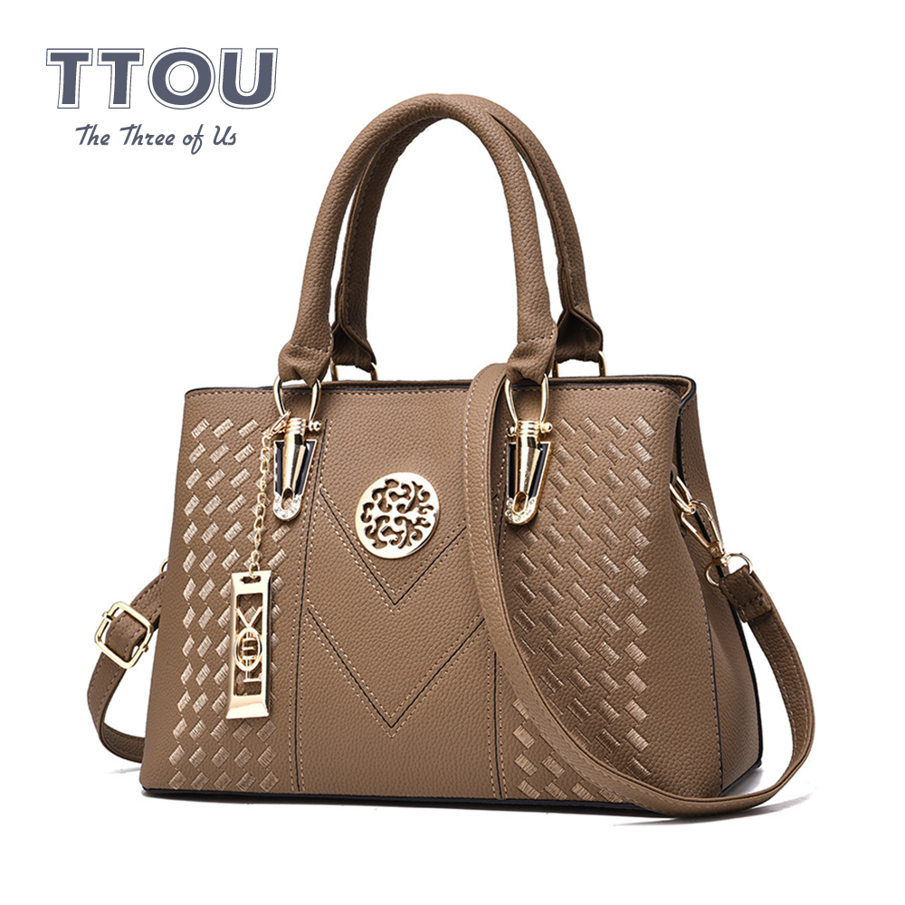Casual PU Leather Embroidery Women Handbags Solid Color Designer Shoulder Lady Bags Quality Large Capacity Female Crossbody Bags