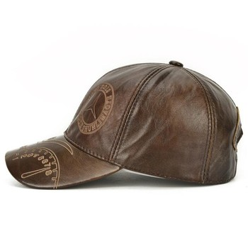 SHALUOTAOTAO Snapback Cap Quality Cowhide Genuine Leather Hat Men Autumn Winter New Thermal Adjustable Size Brands Baseball Caps 5