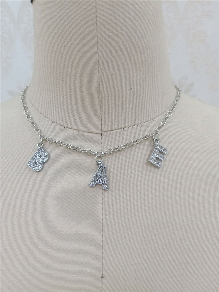 Hd2d22866a513404e9ffa82a37deb9198m - Harajuku Letter Crystal Angel Necklace Women Jewelry Couple Gift Necklace BABY HONEY Choker Femme Punk Collier Drop Ship