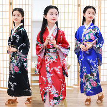 New children's kimono Japanese bathrobe girl princess dress performance dress cute bow sweat steaming suit(China)